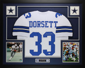 Tony Dorsett Autographed and Framed White Cowboys Jersey Auto JSA Certified