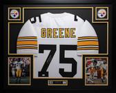 Joe Greene Autographed HOF 87 and Framed White Steelers Jersey Auto JSA Certified