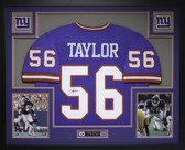 Lawrence Taylor Autographed and Framed Blue Giants Jersey Auto JSA Certified
