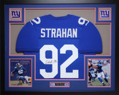 Michael Strahan Autographed and Framed Blue Giants Jersey Auto JSA Certified