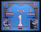 Warren Moon Autographed HOF 06 and Framed Blue Oilers Jersey Auto JSA Certified