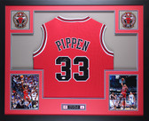 Scottie Pippen Autographed and Framed Red Bulls Jersey Auto JSA Certified