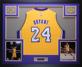 Kobe Bryant Autographed & Framed Gold Adidas Lakers #24 Jersey Auto Panini COA