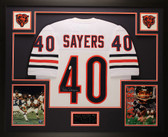 Gale Sayers Autographed and Framed White Bears Jersey JSA COA D6-L