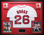 Wade Boggs Autographed HOF 05 and Framed White Red Sox Jersey Auto JSA COA D2-L