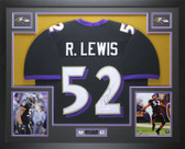 Ray Lewis Autographed and Framed Black Ravens Jersey Auto JSA COA D8-L