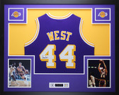 Jerry West Autographed and Framed Purple Lakers Jersey Auto JSA COA (D2-L)