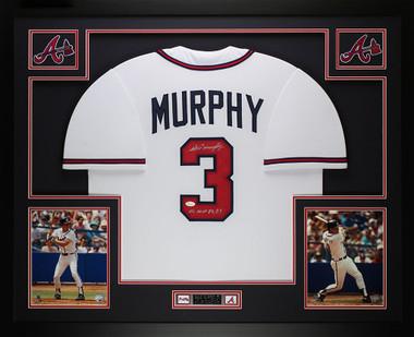 Dale Murphy Autographed NL MVP 82, 83 U0026 Framed White Braves Jersey Auto JSA  COA