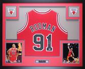 Dennis Rodman Autographed Framed Red Chicago Bulls Jersey Auto PSA COA D4-L