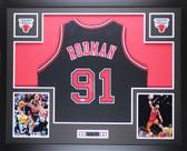 Dennis Rodman Autographed Framed Black Chicago Bulls Jersey Auto JSA COA D5-L