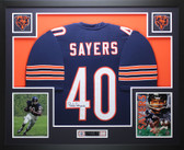 Gale Sayers Autographed and Framed Blue Bears Jersey JSA COA D7-L