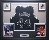 George Gervin Autographed and Framed Black Spurs Jersey JSA COA D3-L