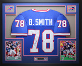 Bruce Smith Autographed and Framed Blue Bills Jersey Auto JSA COA D3-L