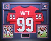 JJ Watt Autographed & Framed Red Texans Jersey Auto JSA Certified D12-L