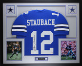 Roger Staubach Autographed and Framed Blue Jersey Auto JSA COA D8-L