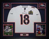 Peyton Manning Auto SB 50 Champs & Framed White Broncos Jersey Steiner COA D15