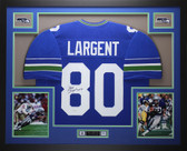 Steve Largent Autographed and Framed Blue Seahawks Jersey Auto JSA COA D1-L