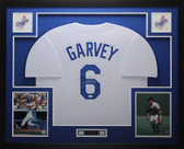 Steve Garvey Autographed and Framed White Dodgers Jersey Auto JSA COA