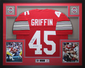 Archie Griffin Autographed HT 1974/75 & Framed White Buckeyes Jersey PSA COA D5