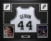 George Gervin Autographed and Framed White Spurs Jersey JSA COA D4-L