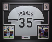 Frank Thomas Autographed & Framed Gray White Sox Jersey Auto Leaf COA D4-L