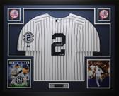 Derek Jeter Autographed and Framed Yankees Pinstriped Jersey Steiner COA D8-L