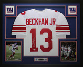 Odell Beckham Jr Autographed and Framed White Giants Jersey Auto JSA COA D3-L