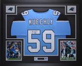 Luke Kuechly Autographed & Framed Blue Panthers Jersey Auto JSA COA D1-L