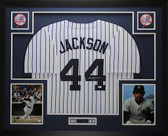 Reggie Jackson Autographed and Framed Yankees Pinstriped Jersey JSA COA D1