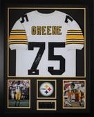 Joe Greene Autographed HOF 87 and Framed White Steelers Jersey JSA COA (Vert)