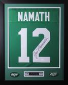 """Joe Namath Framed and Autographed Green Jets Jersey Auto JSA COA (24""""x30"""")"""