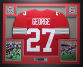 Eddie George Autographed & Framed Red Ohio State Jersey JSA COA D1-L