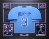 Dale Murphy Autographed NL MVP 82, 83 & Framed Blue Braves Jersey Auto JSA COA