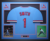Ozzie Smith Autographed and Framed Blue Cardinals Jersey Auto JSA COA D3-L