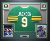 Reggie Jackson Framed and Autographed Green A's Jersey JSA COA D2-L