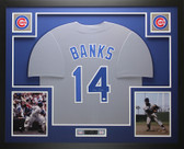 Ernie Banks Autographed and Framed Gray Cubs Jersey Auto GTSM COA D4-L