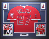 Mike Trout Autographed and Framed Red Angels Jersey Auto MLB COA D17-L
