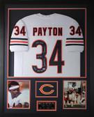 Walter Payton Autographed and Framed White Bears Jersey Auto PSA COA D5-V