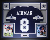 Troy Aikman Autographed and Framed Blue Star Cowboys Jersey Auto JSA COA D10-L