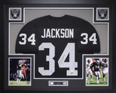Bo Jackson Autographed and Framed Black Raiders Jersey Auto JSA COA (D5-L)