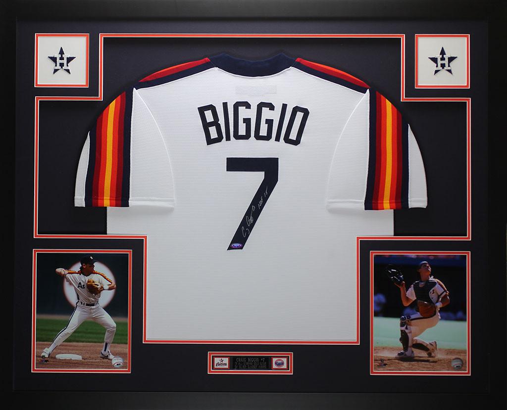 Craig Biggio Autographed HOF 15 & Framed Rainbow Astros Jersey