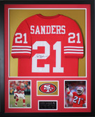 Deion Sanders Autographed and Framed Red 49ers Jersey Auto JSA COA (D1-V)