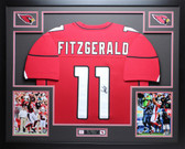 Larry Fitzgerald Autographed and Framed Red Cardinals Jersey Auto JSA COA (D1-L)