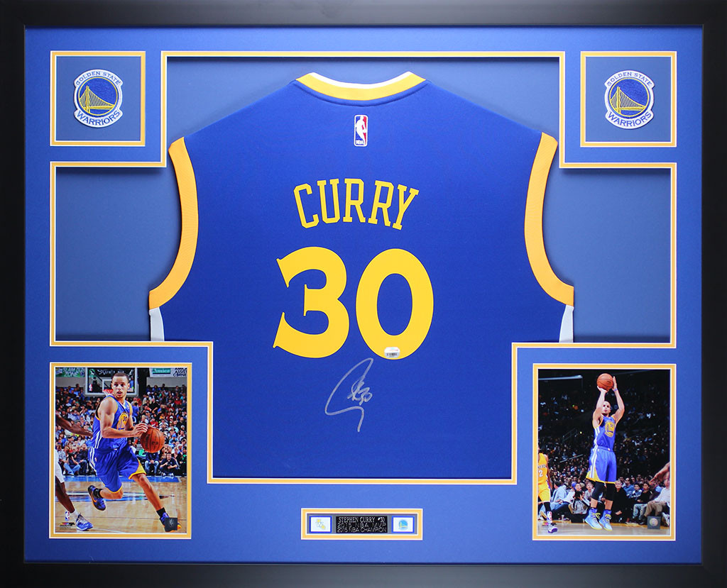Stephen Curry Autographed And Framed Blue Warriors Jersey