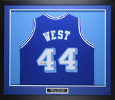 Jerry West Autographed & Framed Blue Throwback Lakers Jersey Auto JSA COA (D2-M)