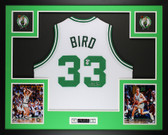 Larry Bird Autographed and Framed White Celtics Jersey Auto PSA COA (D7-L)