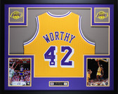 James Worthy Autographed and Framed Gold Lakers Jersey JSA COA (D2-L)