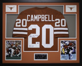 Earl Campbell Autographed HT 77 and Framed Orange Longhorns Jersey GTSM COA D1-3