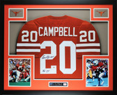 Earl Campbell Autographed HT 77 and Framed Orange Longhorns Jersey GTSM COA D9-L