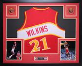 Dominique Wilkins Autographed and Framed Red Hawks Jersey JSA Certified